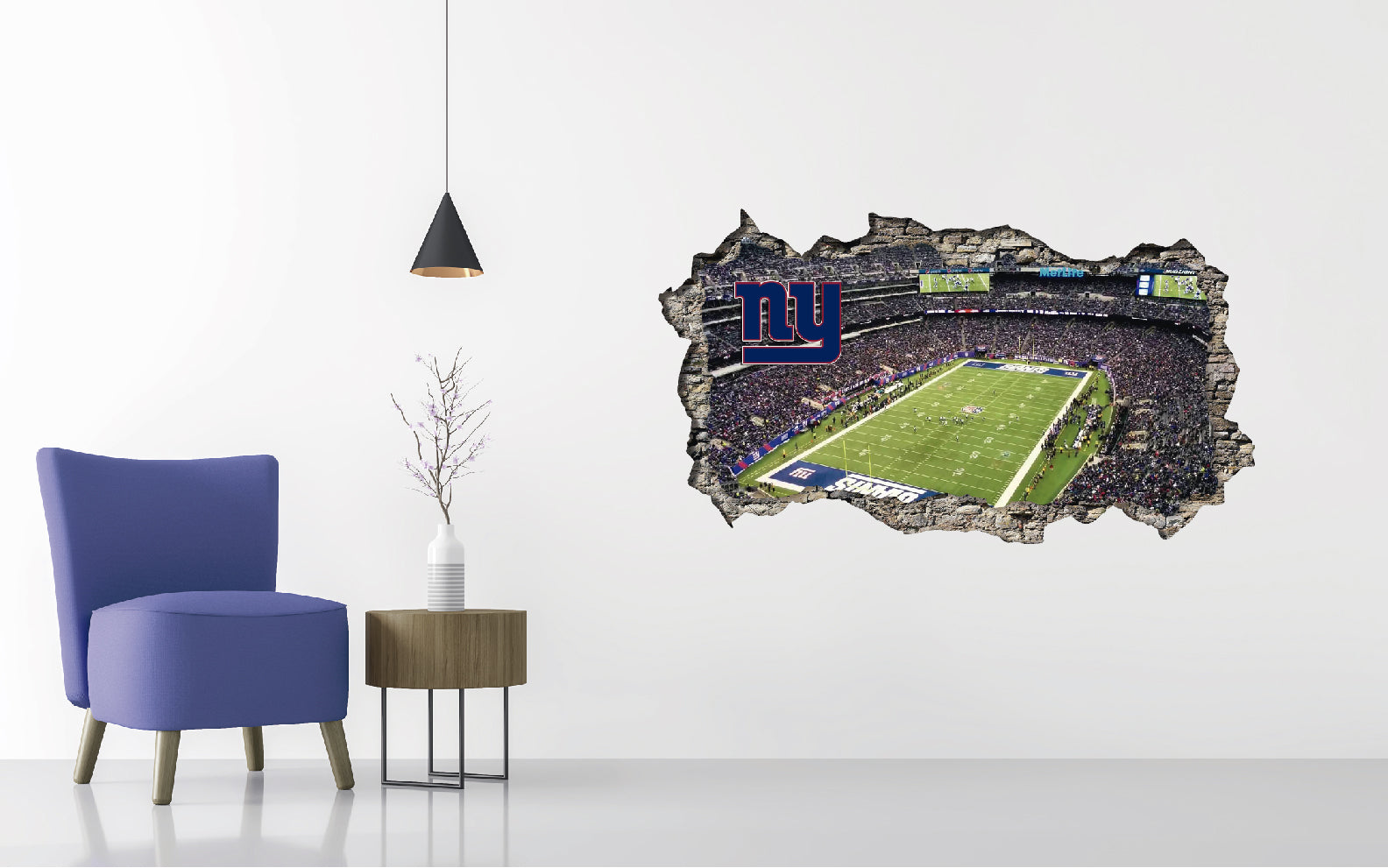 New York Giants  Stadium - Football Stadium 3D Effect - Brake Wall Effect 3D - Wall Decal For Rooms And Living Room