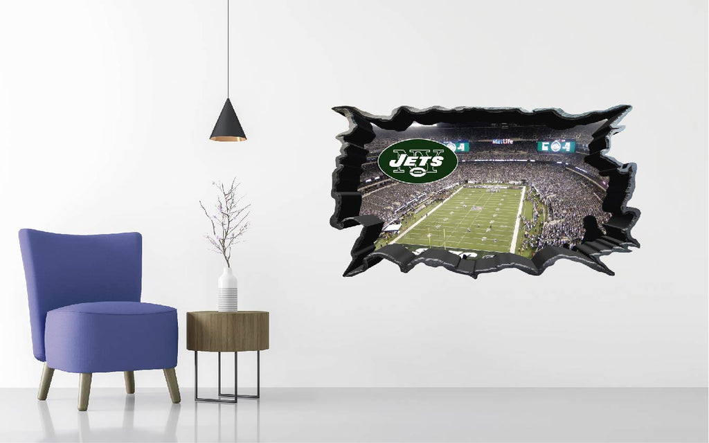 New York Jets Stadium - Football Stadium 3D Effect - Brake Wall Effect 3D - Wall Decal For Rooms And Living Room