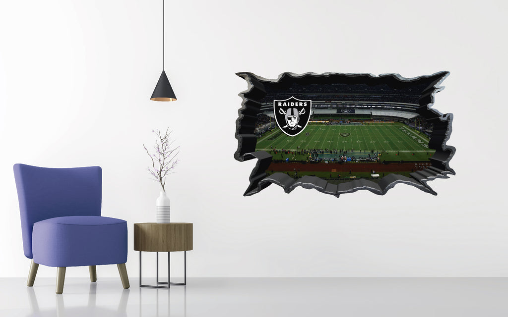 Oakland Raiders Stadium - Football Stadium 3D Effect - Brake Wall Effect 3D - Wall Decal For Rooms And Living Room