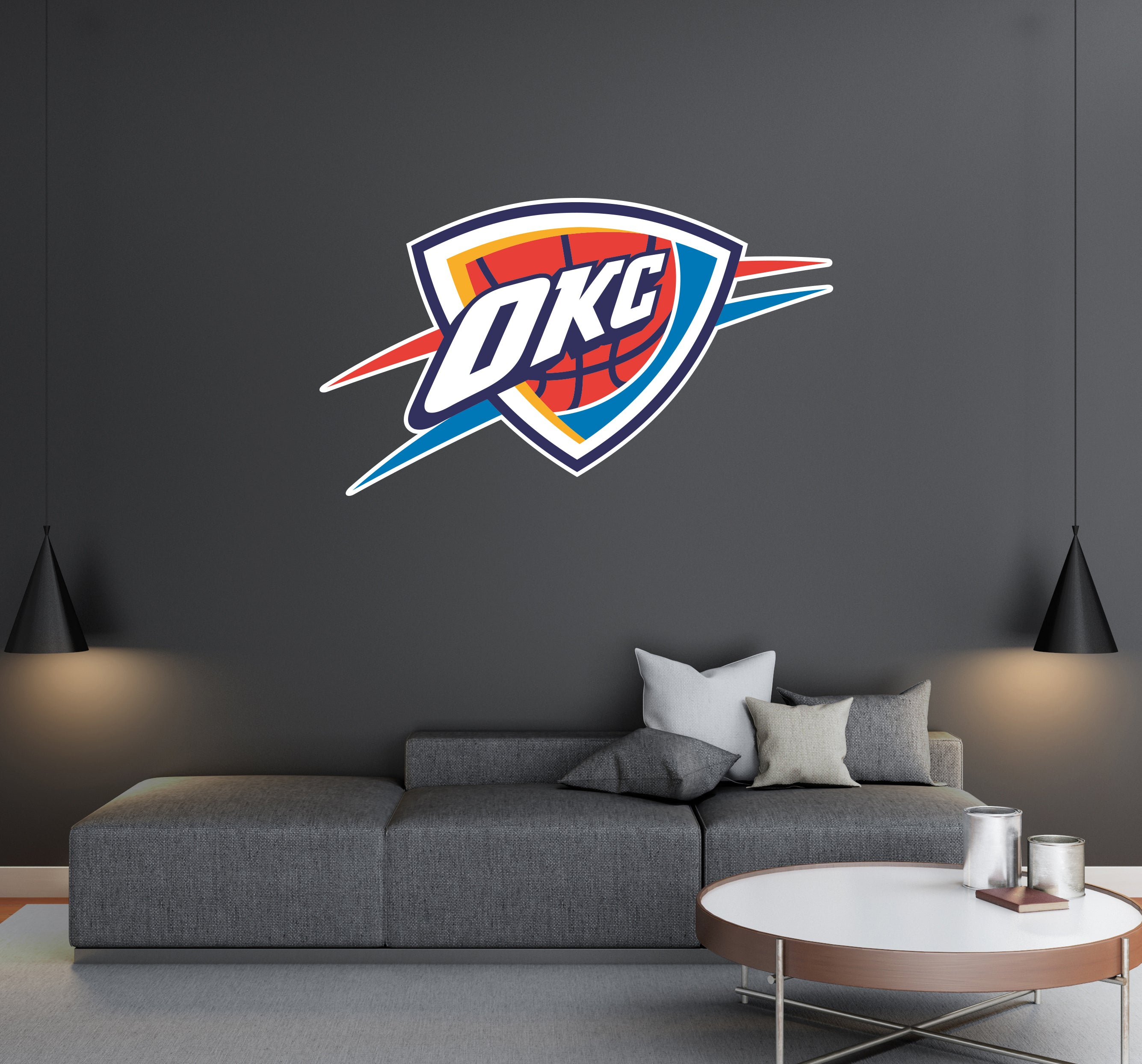 Oklahoma City Thunder Basketball Team Logo - Wall Decal Removable & Reusable For Home Bedroom