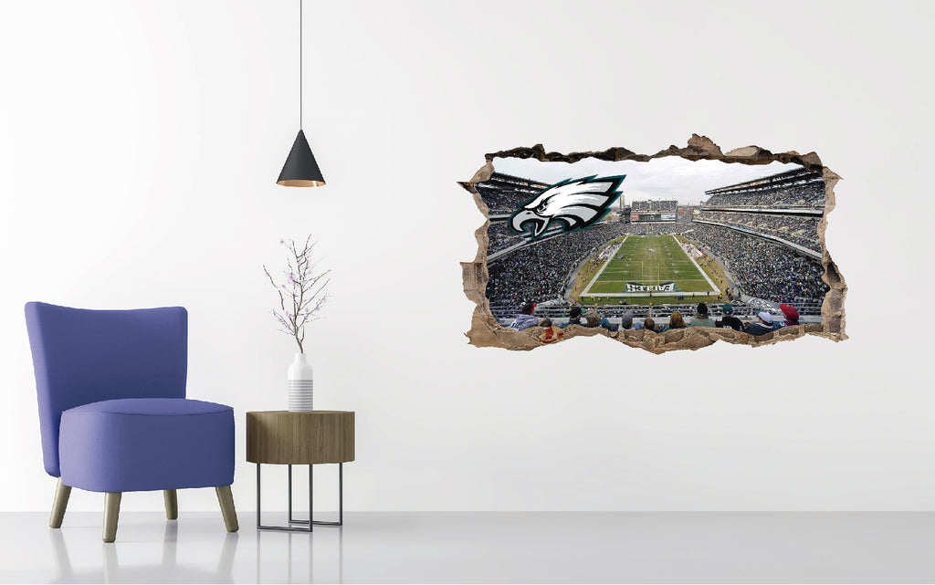 Philadelphia Eagles Stadium - Football Stadium 3D Effect - Brake Wall Effect 3D - Wall Decal For Rooms And Living Room