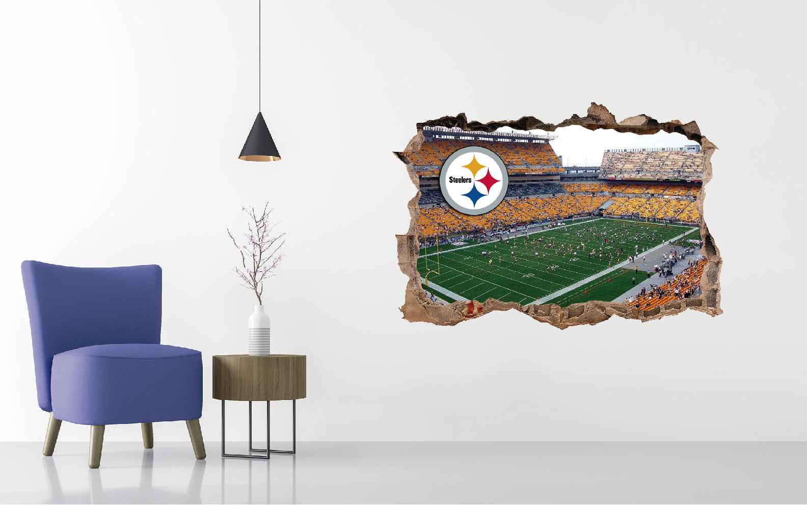 Pittsburgh Steelers Stadium - Football Stadium 3D Effect - Brake Wall Effect 3D - Wall Decal For Rooms And Living Room