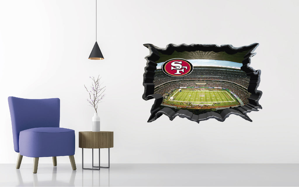 San Francisco 49ers Stadium - Football Stadium 3D Effect - Brake Wall Effect 3D - Wall Decal For Rooms And Living Room