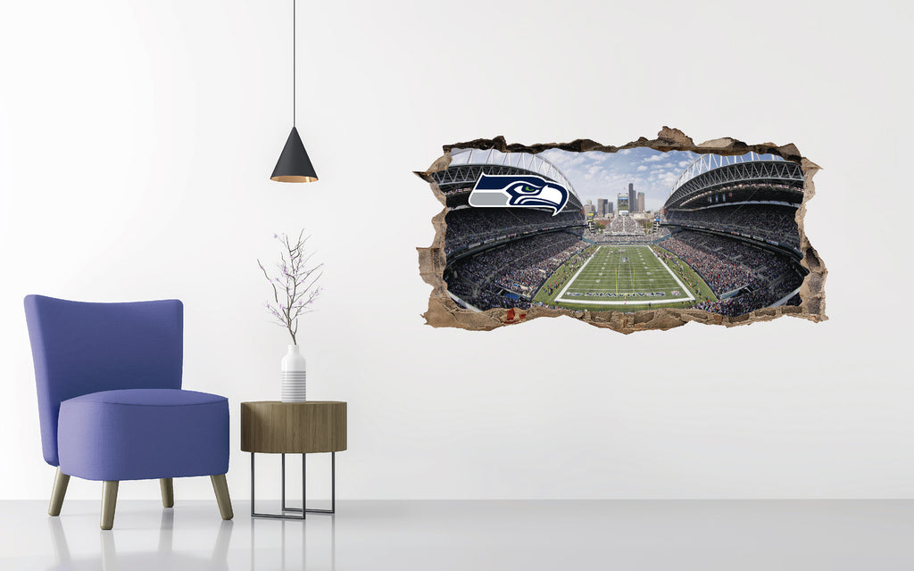 Seattle Seahawks Stadium - Football Stadium 3D Effect - Brake Wall Effect 3D - Wall Decal For Rooms And Living Room