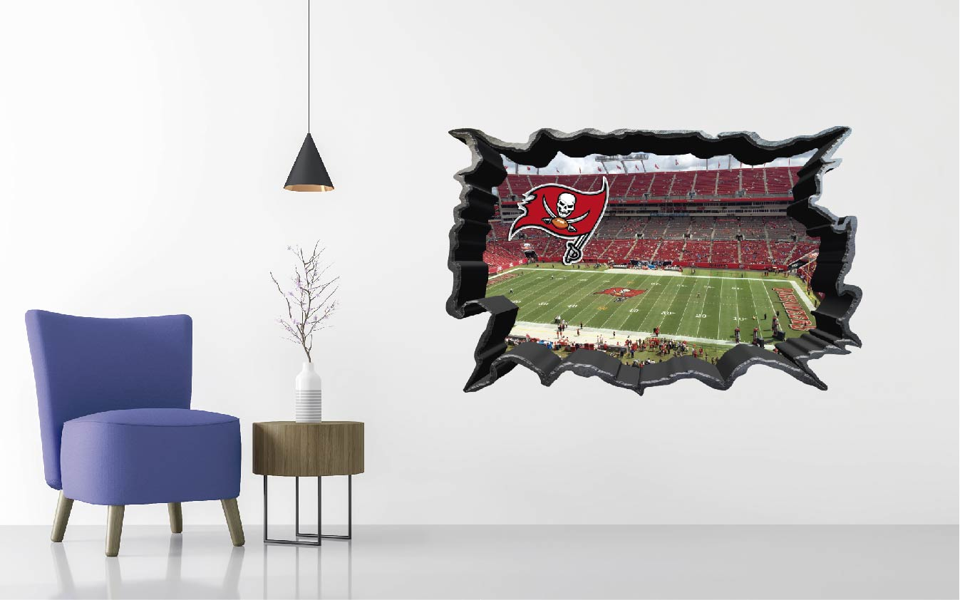Tampa Bay Buccaneers Stadium - Football Stadium 3D Effect - Brake Wall Effect 3D - Wall Decal For Rooms And Living Room