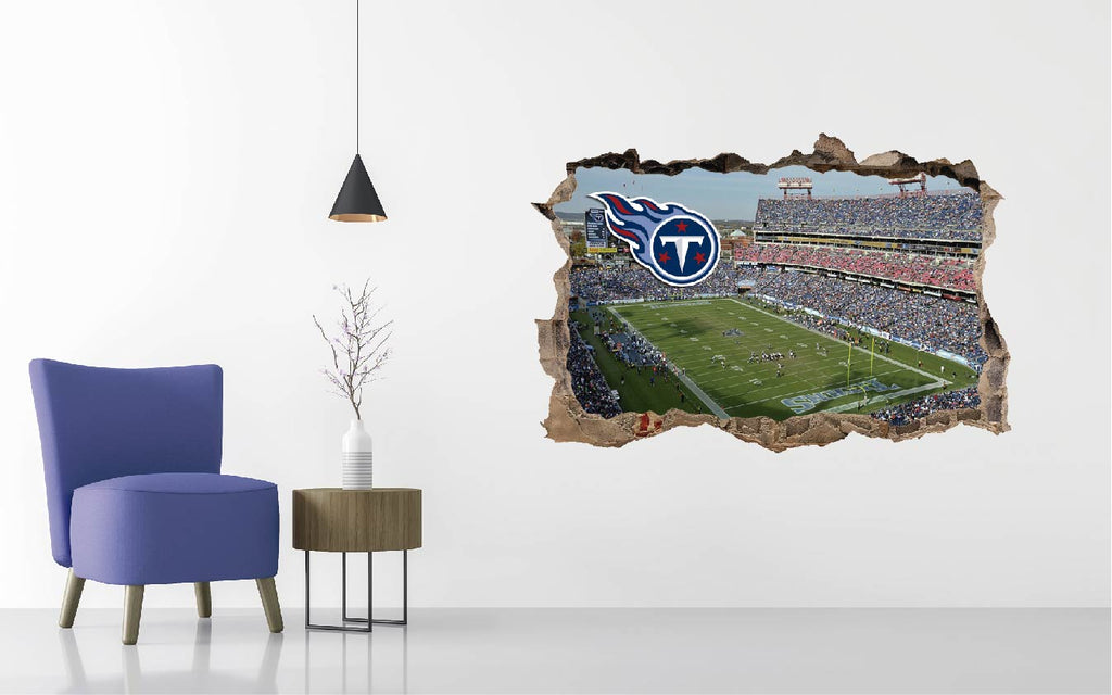 Tennessee Titans Stadium - Football Stadium 3D Effect - Brake Wall Effect 3D - Wall Decal For Rooms And Living Room