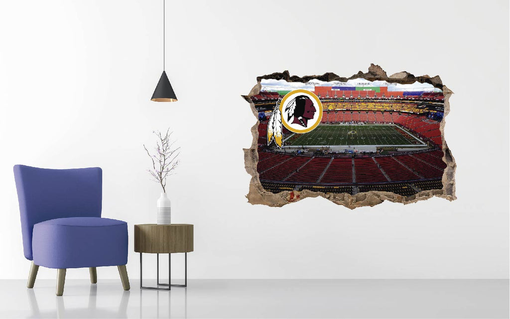 Washington Redskins - Football Stadium 3D Effect - Brake Wall Effect 3D - Wall Decal For Rooms And Living Room