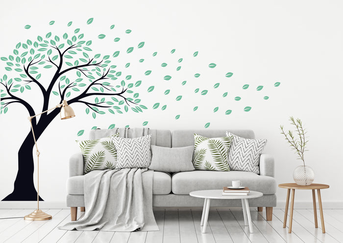 Tree Leaves Flying Wall Decal (Y02)