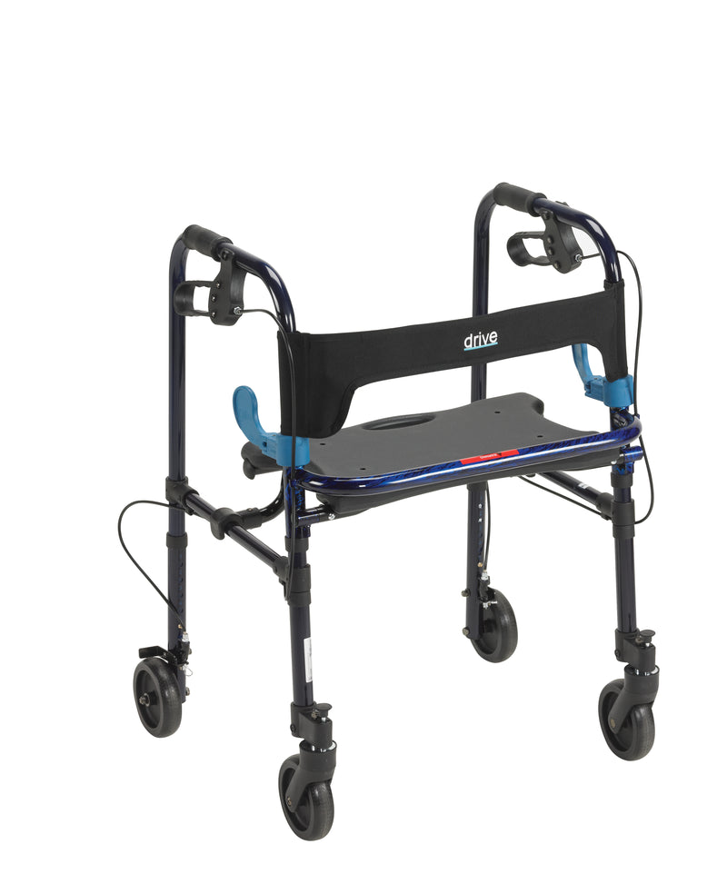 "Clever Lite Walker Rollator, Adult, 5"" Wheels, Flame Blue"