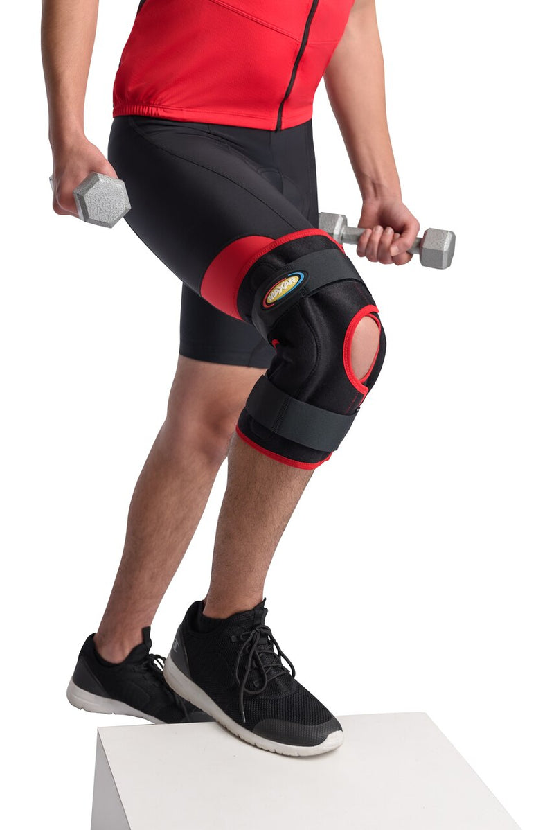 MAXAR Airprene (Breathable Neoprene) Wrap-Around Knee Brace (Double-Pivot Hinge) - Black w/Red Trim