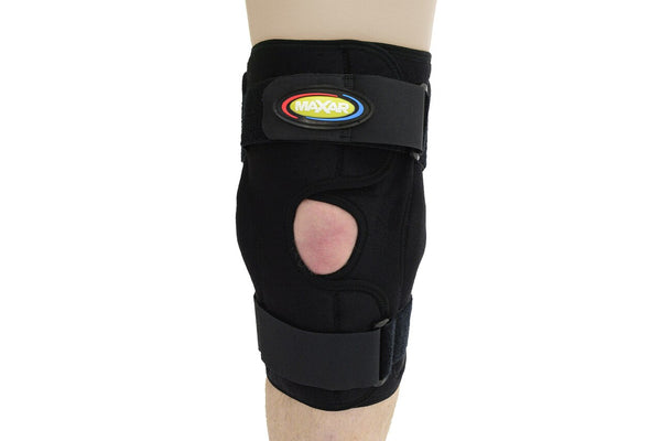 MAXAR Airprene (Breathable Neoprene) Wrap-Around Knee Brace (Double-Pivot Hinge) - Black