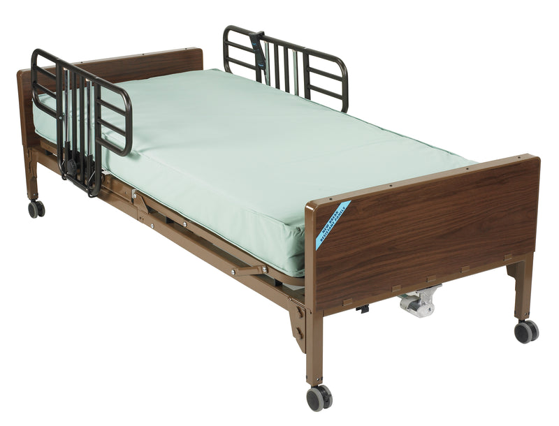 Semi Electric Hospital Bed with Half Rails and Therapeutic Support Mattress