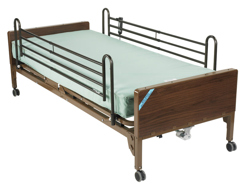 Semi Electric Hospital Bed with Full Rails and Innerspring Mattress