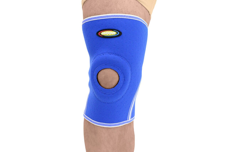 MAXAR Airprene (Breathable Neoprene) Knee Brace - Open Patella, Terrycotton Lining - Blue