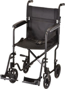 TRANSPORT CHAIR- 19 INCH LIGHTWEIGHT WITH SWINGAWAY FOOTRESTS BLACK BY NOVA