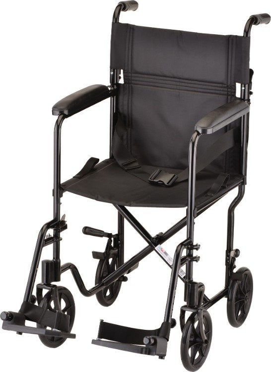 RENT The TRANSPORT CHAIR- 19 INCH LIGHTWEIGHT WITH SWINGAWAY FOOTRESTS BLACK BY NOVA