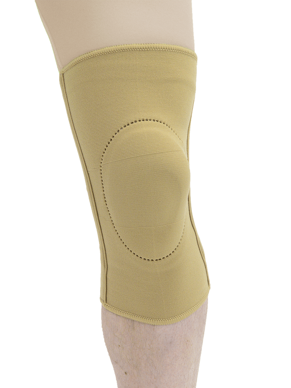MAXAR Elastic Knee Brace with Donut-Shaped Silicone Ring and Metal Stays - Beige