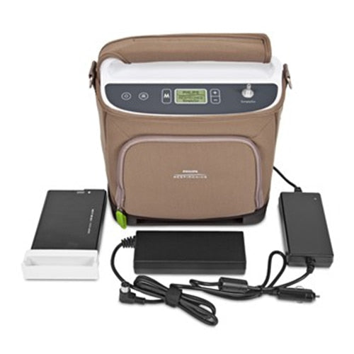 SimplyGO on the GO Bundle SimplyGo Portable Oxygen Concentrator Desktop Charger & 3 Li-Ion Batteries - Philips Respironics - SGBUNDLE1
