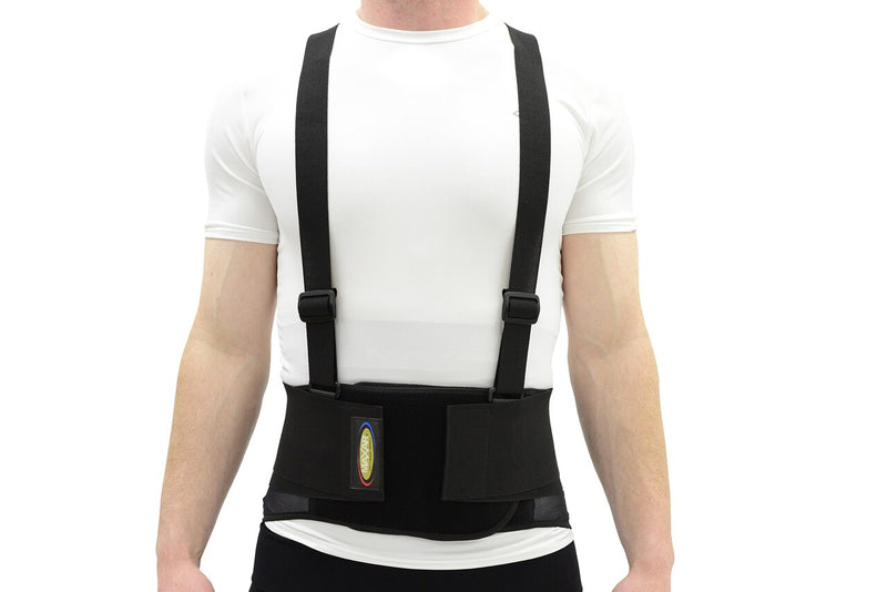 MAXAR Work Belt - Industrial Lumbosacral Support (Economy, w/o Suspenders) - Black & Black w/Red Trim