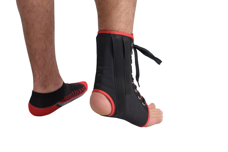 MAXAR Canvas Ankle Brace (with laces) - Black & White w/Red Trim