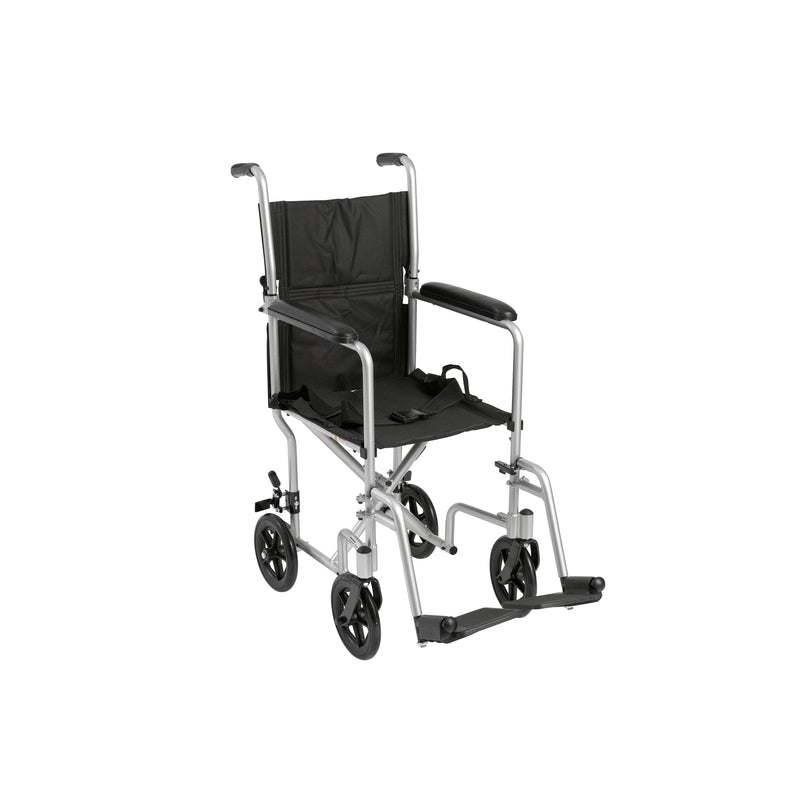 "Lightweight Transport Wheelchair, 17"" Seat, Silver"