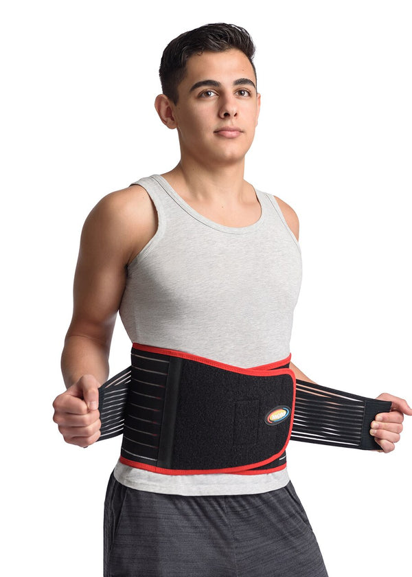 MAXAR Bio-Magnetic Back Support Belt - Black w/Red Trim