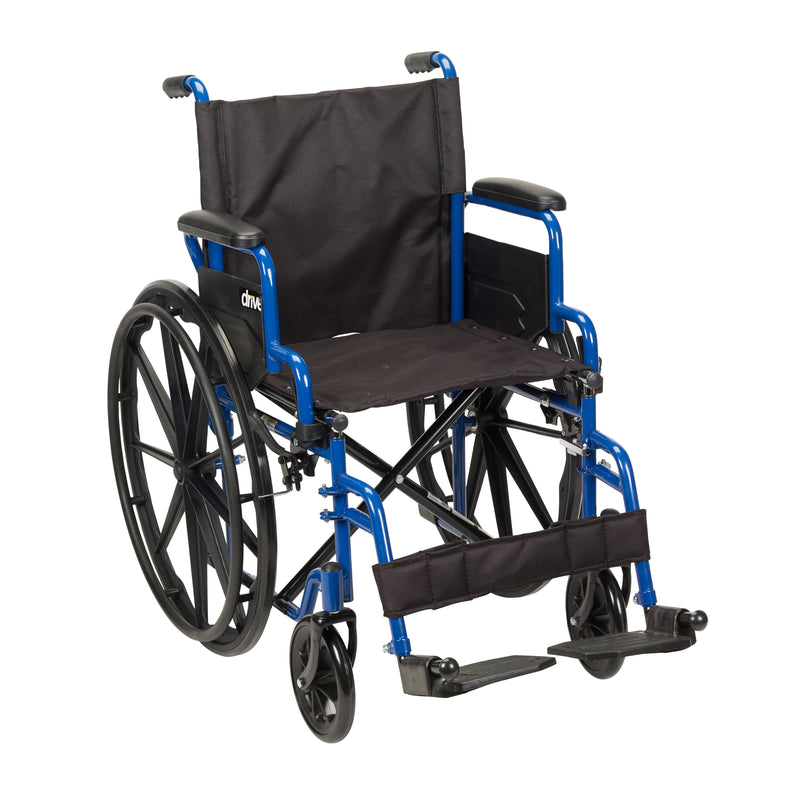 "Blue Streak Wheelchair with Flip Back Desk Arms, Swing Away Footrests, 20"" Seat"