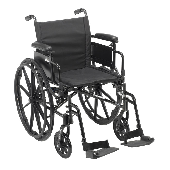 "Cruiser X4 Lightweight Dual Axle Wheelchair with Adjustable Detachable Arms, Desk Arms, Swing Away Footrests, 18"" Seat"