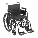 "Cruiser X4 Lightweight Dual Axle Wheelchair with Adjustable Detachable Arms, Desk Arms, Swing Away Footrests, 20"" Seat"