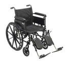 "Cruiser X4 Lightweight Dual Axle Wheelchair with Adjustable Detachable Arms, Full Arms, Elevating Leg Rests, 20"" Seat"