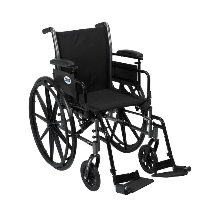 Cruiser III Light Weight Wheelchair with Flip Back Removable Arms, Adjustable Height Desk Arms, Swing away Footrests, 18""
