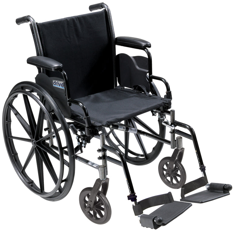 "Cruiser III Light Weight Wheelchair with Flip Back Removable Arms, Desk Arms, Swing away Footrests, 20"" Seat"