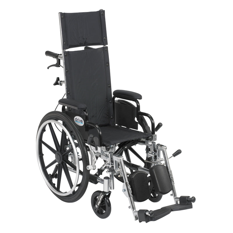"Viper Plus Light Weight Reclining Wheelchair with Elevating Leg Rests and Flip Back Detachable Arms, 12"" Seat"
