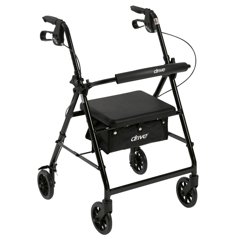 "Rollator Rolling Walker with 6"" Wheels, Fold Up Removable Back Support and Padded Seat, Black"