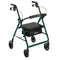 "Rollator Rolling Walker with 6"" Wheels, Fold Up Removable Back Support and Padded Seat, Green"
