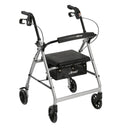 "Rollator Rolling Walker with 6"" Wheels, Fold Up Removable Back Support and Padded Seat, Silver"