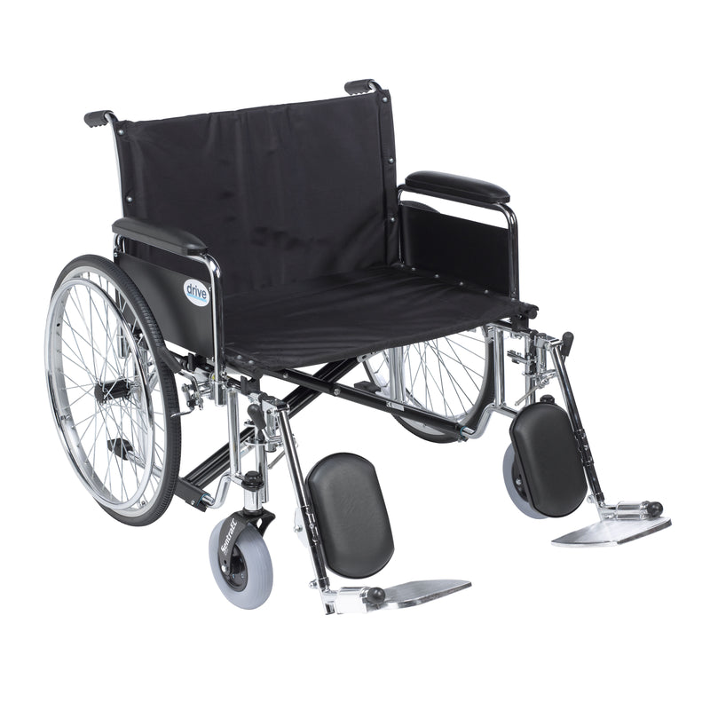 "Sentra EC Heavy Duty Extra Wide Wheelchair, Detachable Full Arms, Elevating Leg Rests, 26"" Seat"