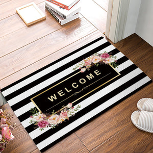Striped Floral Welcome Door Mat