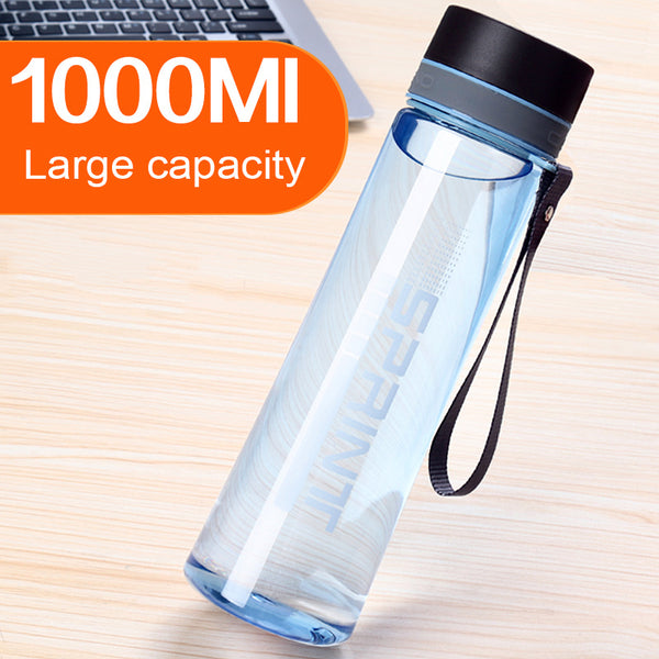 Large Capacity 1000ML Plastic Water Bottle With Rope Portable Outdoor Space Bottle Hiking Camping Travel Bottle Free BPA