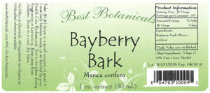 Bayberry Root Bark Extract Label