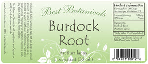 Burdock Root Extract Label