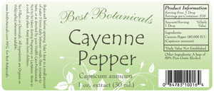 Cayenne Pepper Extract 160 MHU Label