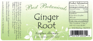 Ginger Root Extract Label