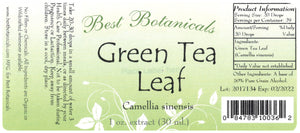 Green Tea Leaf Extract Label