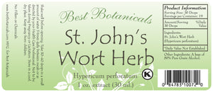 St. John's Wort Herb Extract Label