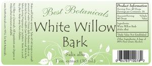 White Willow Bark Extract Label