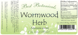 Wormwood Herb Extract Label