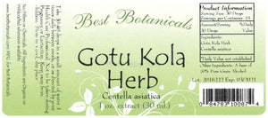 Gotu Kola Herb Extract Label