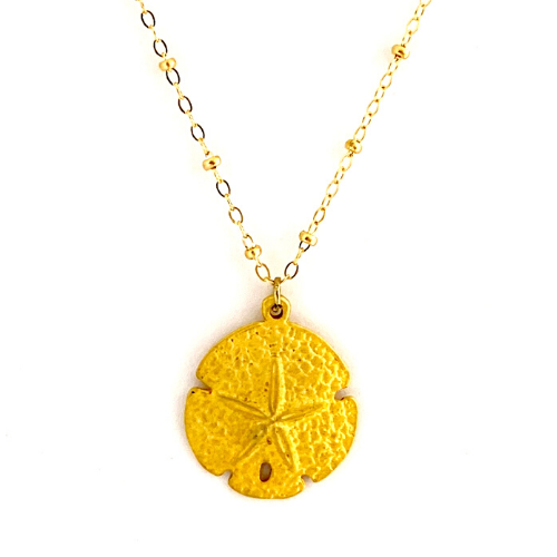 GOLD BRUSHED SAND DOLLAR WITH CABLE CHAIN
