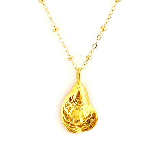 GOLD OYSTER WITH CABLE CHAIN